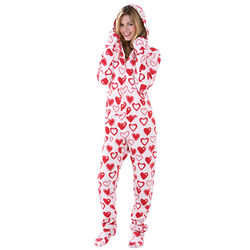 Sweetheart Snuggle Fleece Hoodie Footie Pajama Set