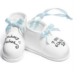 Personalized Baby Boy's Baby Shoes Ornament