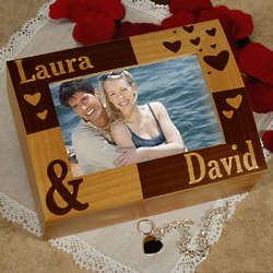 Engraved Couple's Photo Keepsake Box