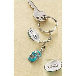 Personalized July Baby Shoes Keychain