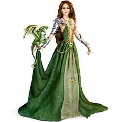Emerald Enticement Fantasy Doll and Dragon