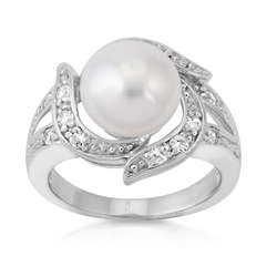 Cultured Pearl and Cubic Zirconia Sterling Silver Cocktail Ring