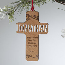 Personalized Bless This Child Personalized Wood Ornament