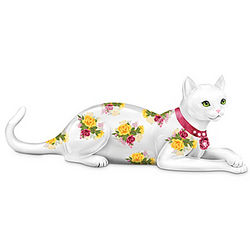Blooming Purr-fection Rose-Patterned Cat Figurine