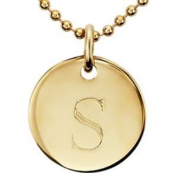 "Engraved ""S"" Mini Initial Pendant in Gold Vermeil"