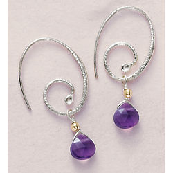 Silver Spirals Amethyst Earrings