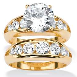 Round Cubic Zirconia Yellow Gold-Plated Bridal Engagement Ring