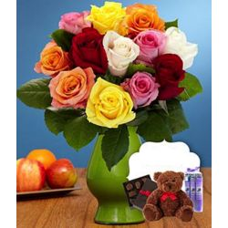 One Dozen Rainbow Roses with Vase, Bear, Chocolates, And Spa Trio
