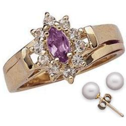 Marquise Amethyst Ring with Freshwater Pearl Clip Studs