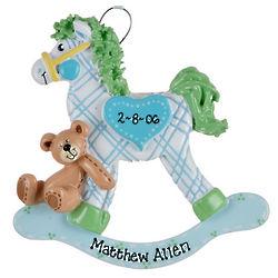 Personalized Blue Plaid Rocking Horse Ornament