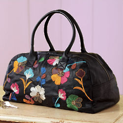 Embroidered Leather Flowers Duffle Bag