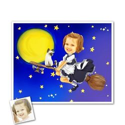 Flying Little Witch Custom Caricature from Photo Art Print