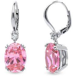 Oval Pink Cubic Zirconia Silver Leverback Dangle Earrings