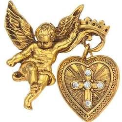 Glory of the Cross Angel Fob Locket Pin