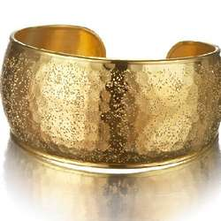 Gold Over Sterling Wide Cuff Hammered Bangle Bracelet