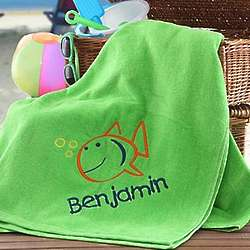 Kid's Personalized Green Embroidered Beach Towel