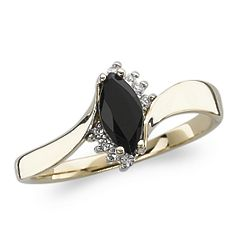 Gold Over Sterling Genuine Marquise Onyx Ring with Cubic Zirconia
