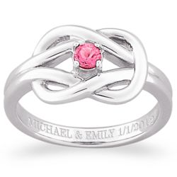 Sterling Silver Birthstone Engraved Knot Ring