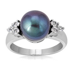 Cultured Black Pearl and White Topaz Sterling Silver Ring