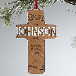 Personalized Bless Our Family Personalized Wood Ornament