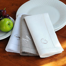 Personalized Linen Hemstitch Napkins