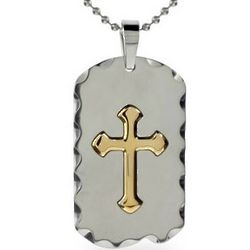 Men's Stainless Steel Gold Cross Dog Tag Necklace