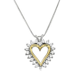 Sterling Silver and 14k Gold Diamond Heart Necklace