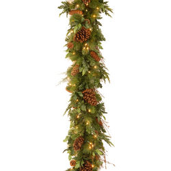 Mixed Bough Juniper Garland with LED Lights
