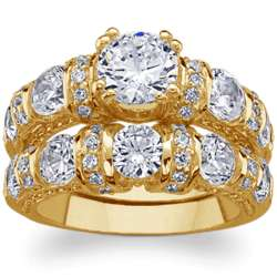 14 Karat Gold-Plated Round Cubic Zirconia Wedding Ring