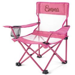 Kid's Pink Fold and Go Chair with Brown Name