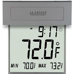 Large Digital Window Thermometer with Solar Powered Backlight