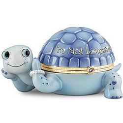 I'm Not Listening Heirloom Porcelain Turtle Music Box