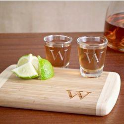Bamboo Cutting Board and Shot Glass Set
