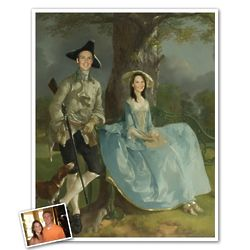 Classic Painting Mr. and Mrs. Andrews Personalized Print in Frame