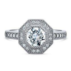 Silver Halo Milgrain Art Deco Engagement Ring with Swarovski