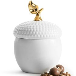 "6.5"" White Acorn Jar with Lid"