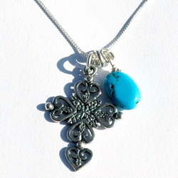 Turquoise Gemstone and Sterling Silver Cross Necklace