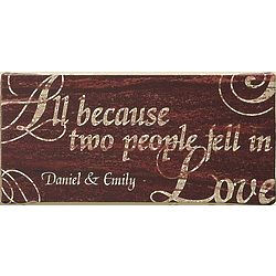Personalized All Because Love Couple Canvas