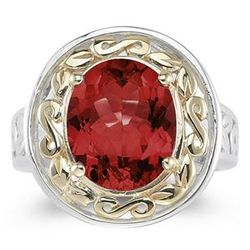 Oval Shape Garnet Ring in Yellow Gold and Silver