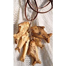 Hand Carved Wooden School of Fish Neckace