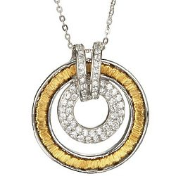 Two Tone Sterling Silver and CZ Double Circle Necklace
