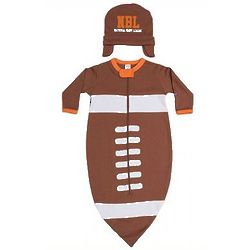 Baby's Football Bodysuit and Cap Set