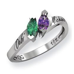 Couples Birthstones Promise Ring