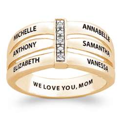 Gold Over Sterling Family Name Bar Ring with Diamond Accents