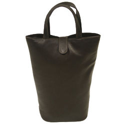 Chocolate Piel Leather Double Wine Tote Bag