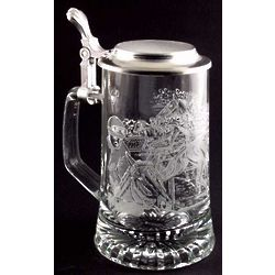 Engraved Horse Racing Glass Stein