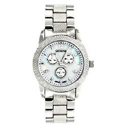 Silver Textured with Mother of Pearl Face Boyfriend Watch