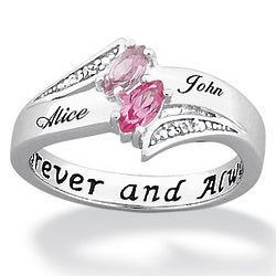 Sterling Silver Couple's Marquise Birthstone and Name Ring