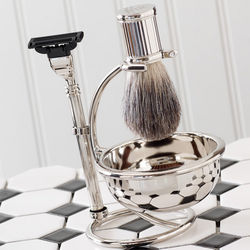 Silver-Plated Shaving Set with Razor