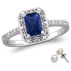 Simulated Sapphire and Cubic Zirconia Ring with Pearl Studs
